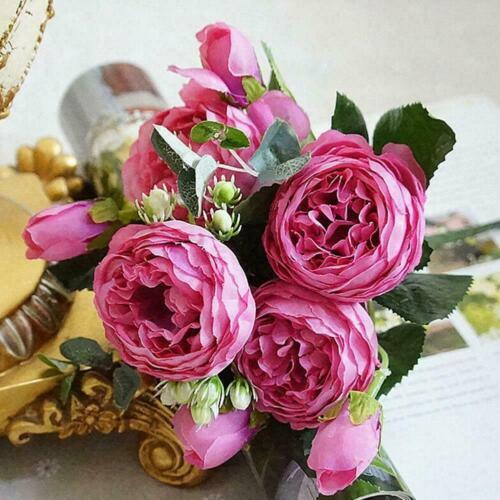 Silk Peony Fake False Flowers Peony Wedding Bouquet Party Decor Home Q2P3