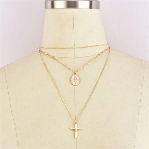 Multi-capa de la Cruz de Karma diosa Cadena Gargantilla Collar De Gota Color Oro Joyería J