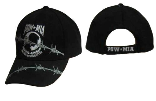 CAP604B Embroidered Pow Mia POWMIA Barb Barbed Wire Black Cap Hat TOPW