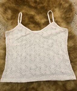 Labelia-Teen-agers-white-lace-Camisole-Top-sleepwear-nightwear-size-It-6-us-38