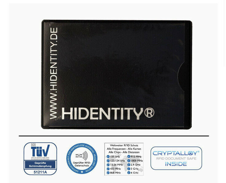 2 X RFID Hidentity Uno - Data Protective Cover for A Card - Black
