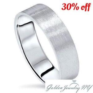 Mens-Womens-Solid-14K-White-Gold-Satin-Brushed-Wedding-Band-3MM-7MM-SIZE-4-13