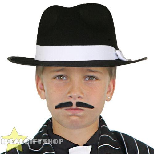 BLACK Bambino Deluxe Gangster Hat Costume Al Capone Gatsby anni 1920
