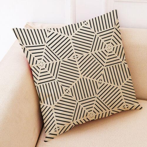 """18/"""" motifs géométriques en Coton Lin Taie d/'oreiller Canapé Cushion Cover Home Decor"""