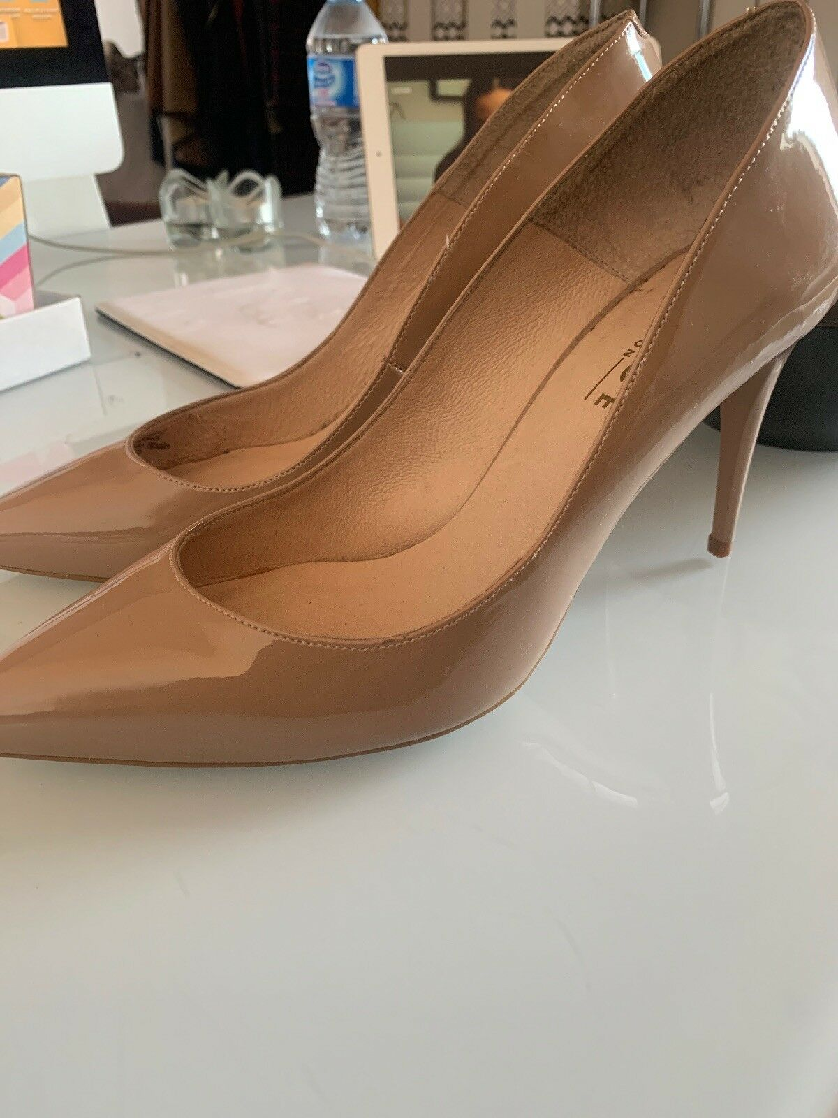 Office nude patent court fleur heels Meghan duchess Kate classic xmas party