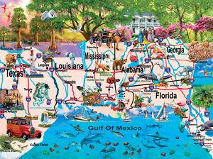 Map Of America Gulf Coast.Gulf Coast 1000 Pc Puzzle America States Map History Sunsout Ebay