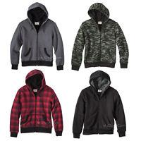 Mossimo Men Sherpa-lined Hooded Sweatshirt Jacket Green Camo/red/black/gray