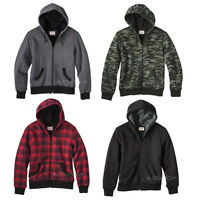 Mossimo Men Sherpa-lined Hooded Sweatshirt Jacket Green Camo/red/black/gray