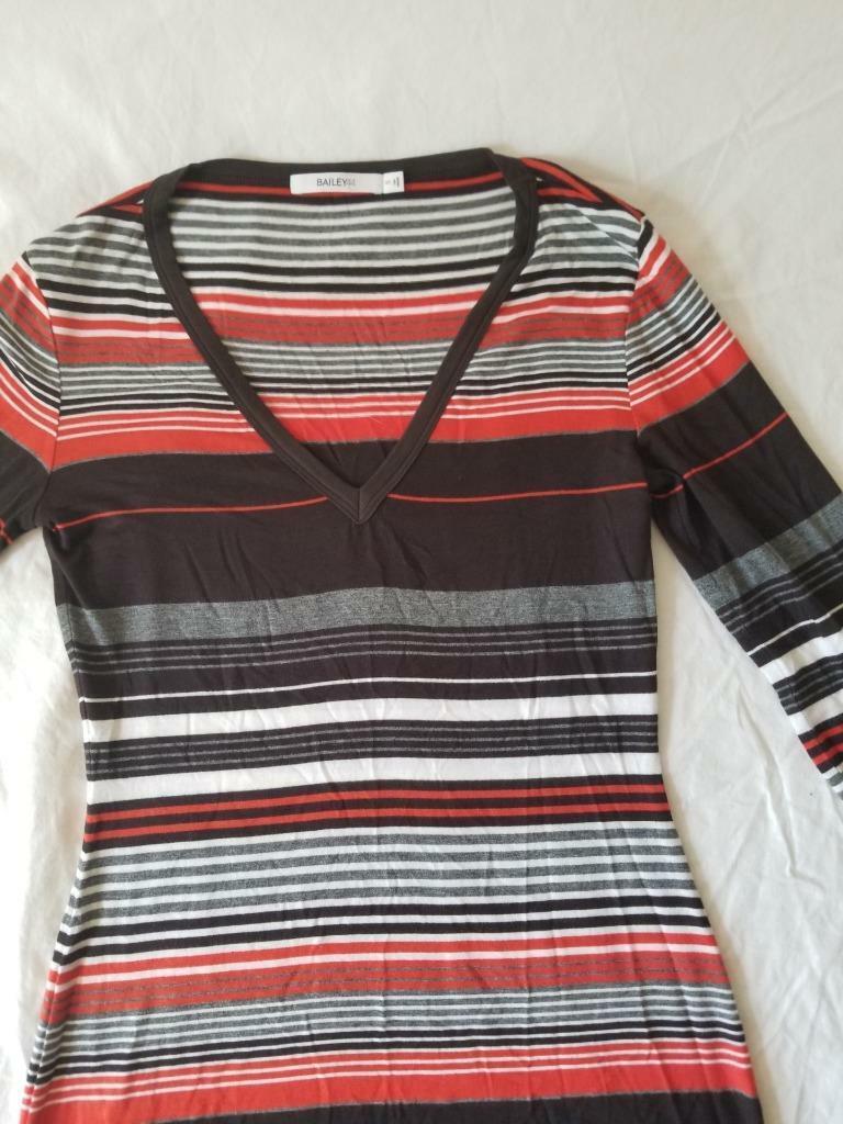 Bailey 44 striped print 3 4 sleeve top v neck top Orange braun S Small NWOT