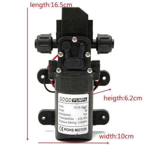 12V 130PSI High Pressure Diaphragm Self Priming Water Pump Caravan Wash 6L//Min