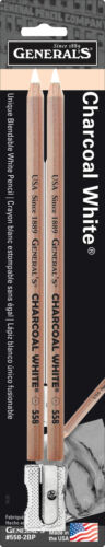 GENERAL PENCIL CO. 5582BP CHARCOAL PENCIL WHITE 2PK W//SHARPENER INC