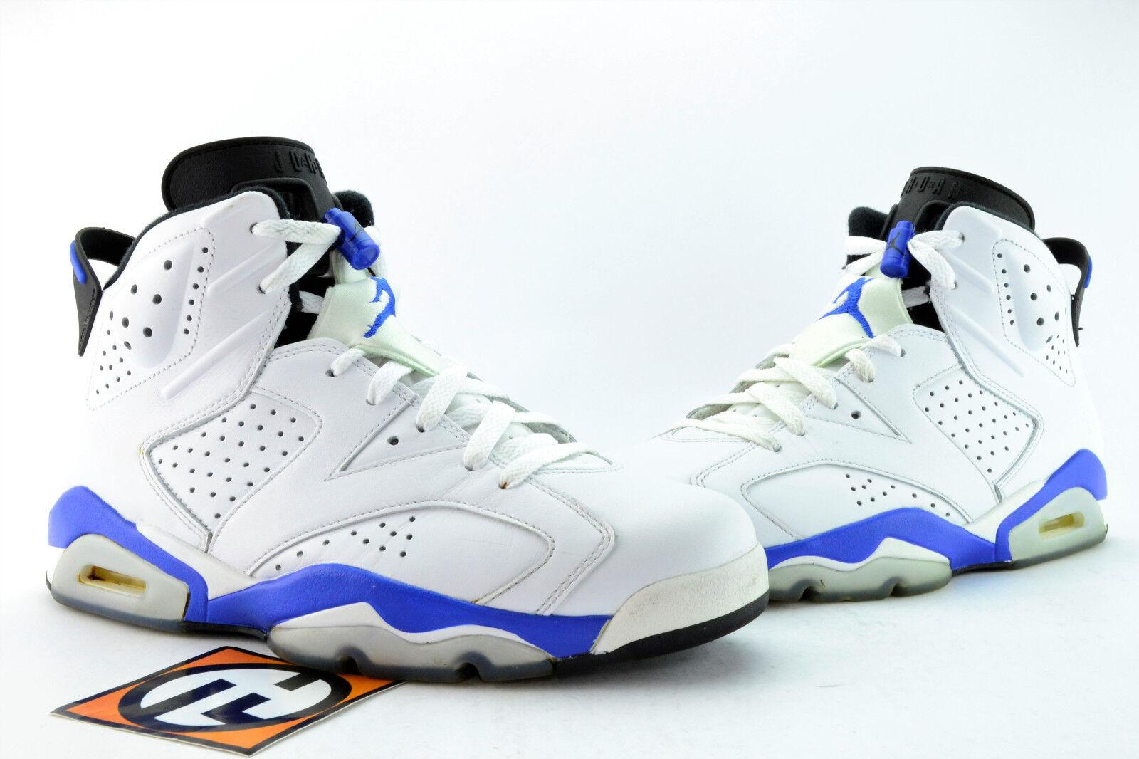 9dc2ab47c937 Air Jordan 6 Retro White White White Sport Blue Black VI s Size 9 2014   384664