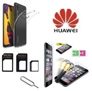 Cover-Silicone-Trasparente-per-Huawei-P20-Lite-Pellicola-Vetro-e-Adattatore-Sim
