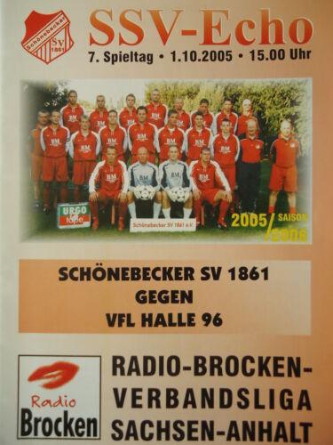 VfL Halle 96 Fanmagazine & Programmhefte Sport Programm 2005/06 Schönebecker SV 1861