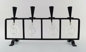 Erik-Hoglund-for-Kosta-Boda-candleholder-in-cast-iron-with-mouth-blown-glasses