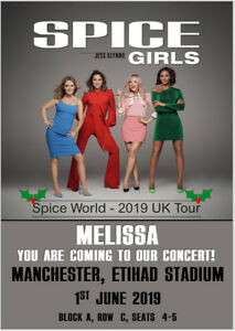 The Spice Girls Spice World Tour 2019 Ticket Card Show Concert Tickets Christmas