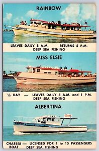 Details About Deep Sea Fishing Charter Boats In Clearwater Beach Florida Albertina Postcard