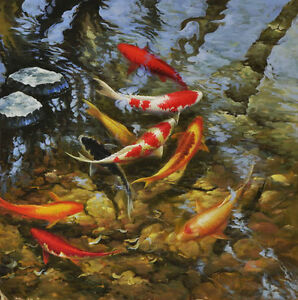 Modern hd print animal art oil painting canvas feng shui for Koi prints canvas