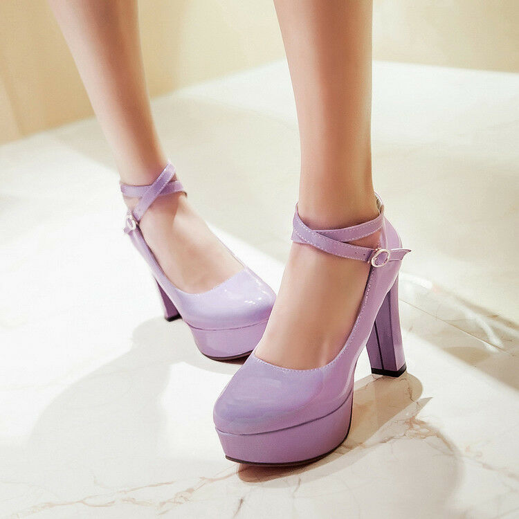 2018 Womens High Heels Round Toe Platform Strappy Buckle Shoes Stilettos Shoes Buckle Pumps adcec8