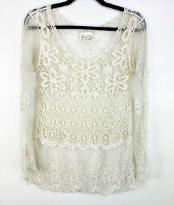 SJS Womens size Small Sheer Crocheted Lace Cream Long Sleeve Top Boho Festival