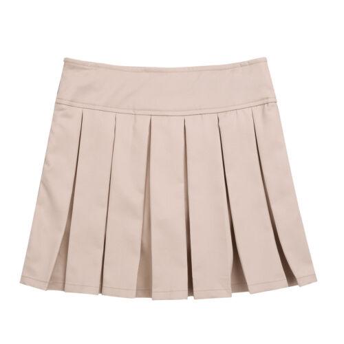 Girls School Uniform Boîte Plissé Jupe Kids Jupe Côté Fermeture Éclair Avec Caché Short
