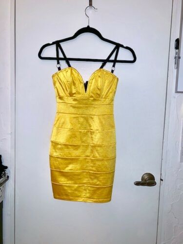 XS Mark Wong Nark Couture Yellow Bodycon Bandage D