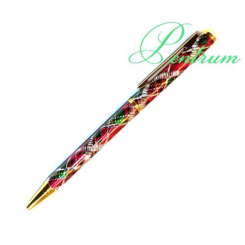 Scottish Tartan Glitter Design Ballpoint Pen Comes in Red Green and Blue Colour