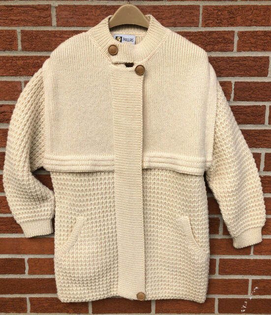 Vtg Men's S PALLAS Ireland Handmade Wool Sweater Cardigan Cream Fisherman Lagen