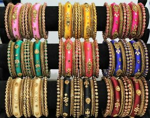 New-Indian-Bangles-Jewellery-Silk-Thread-Wrapped-Designer-Bangle-Set-Gold-Plated