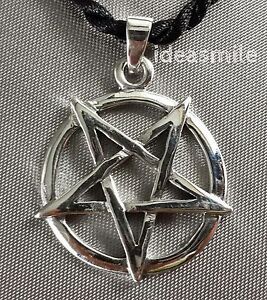 Inverted pentagram wicca satanic witch 925 silver pendant 27 mm image is loading inverted pentagram wicca satanic witch 925 silver pendant aloadofball