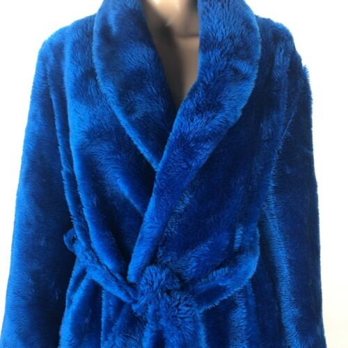 Vintage 70s Sears At Home Wear Womens Blue Fuzzy L