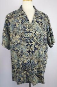 Hilo-Hattie-Size-3X-Navy-Cream-Floral-Hawaiian-Shirt-Coconut-Shell-Button-SS