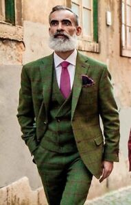 Men's Olive Green Tweed Check Plaid Vintage Suit Groom Tuxedos Dinner Prom Suit