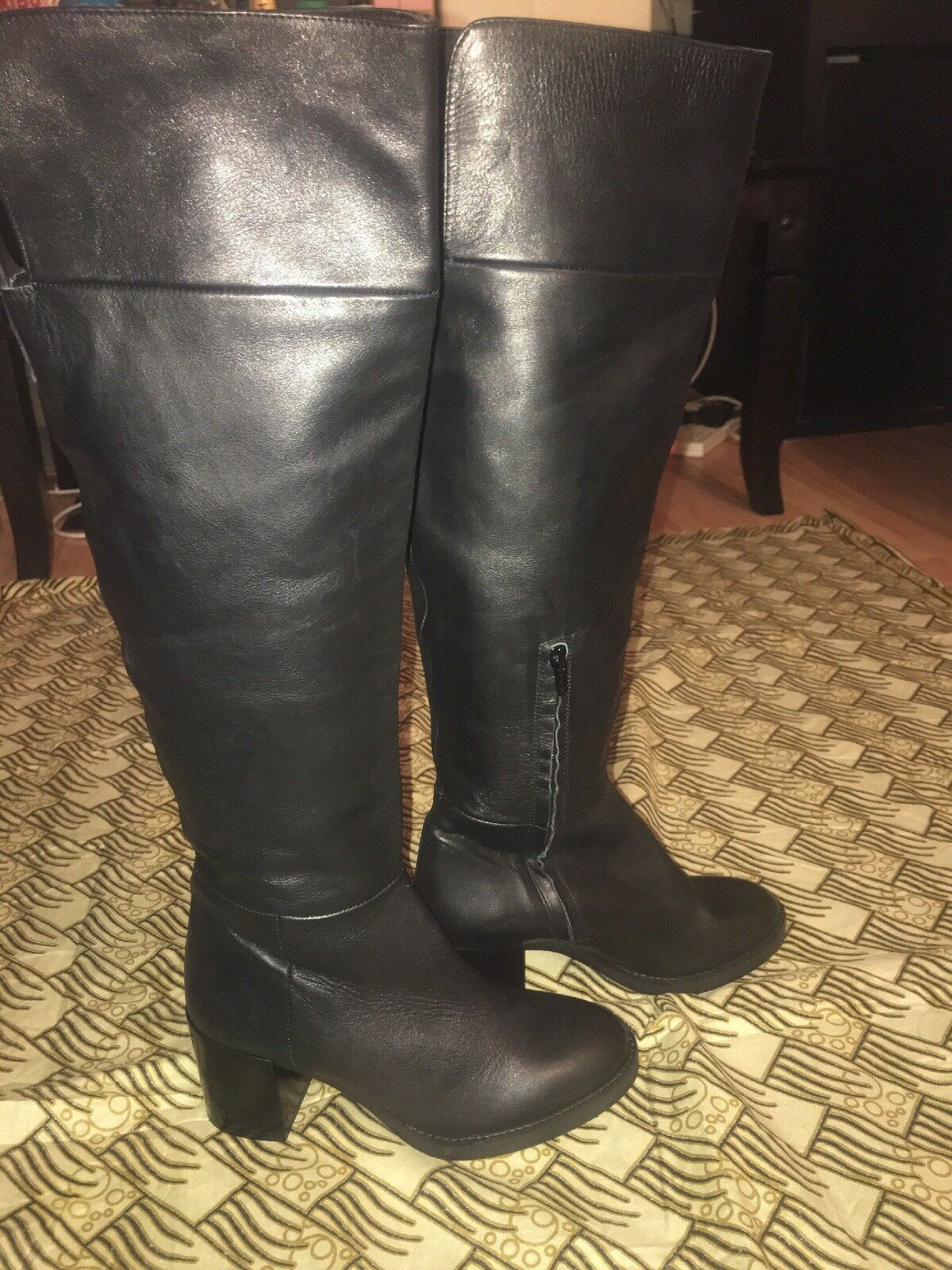 Leather High Boots Db15ef Zara Block Size Knee Heel E74zqRaw