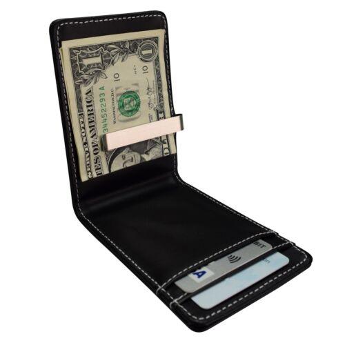 Portafoglio da Uomo Soldi Clip titolare della carta ID Card Da Viaggio In Finta Pelle Marrone Nero W100