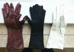 3-Pair-Elegant-Vintage-Ladies-Gloves-Kid-Leather-Velvet-Black-Beaded-Bracelet