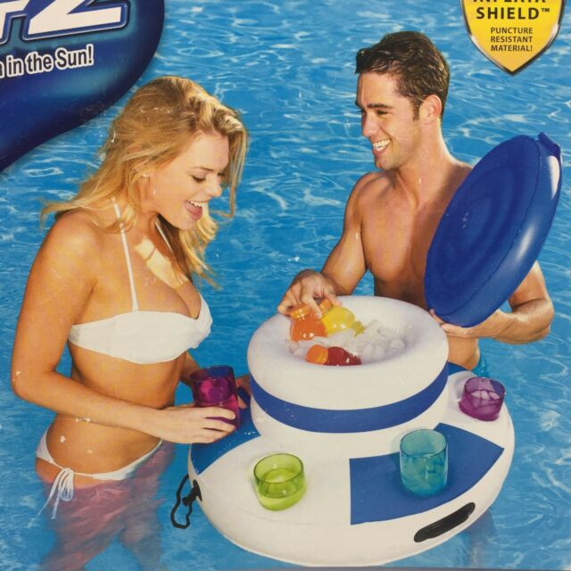Bestway CoolerZ Floating Raft Pool Drink Cold  Six Cup Holder Inflatable New