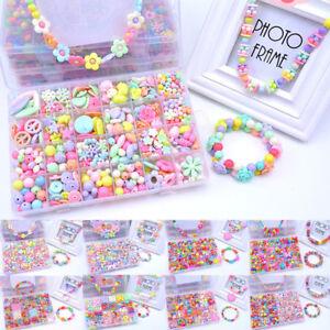 1BOX-Ragazze-Bambini-Acrilico-Perline-Gioielli-Facendo-Kit-Kids-Creative-Craft-giocattolo-A-H