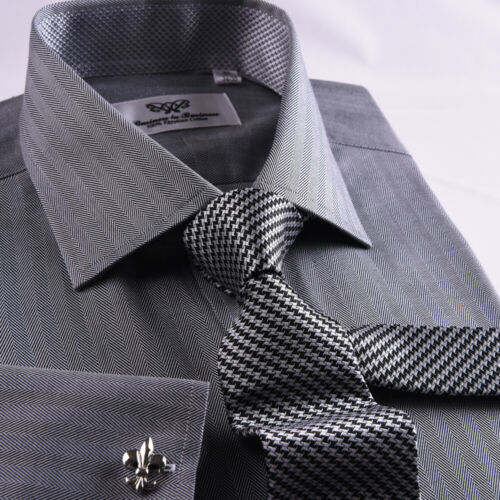 New Arrival Designed Grey Herringbone Business Shirt Easy Iron Boss Mens Formal