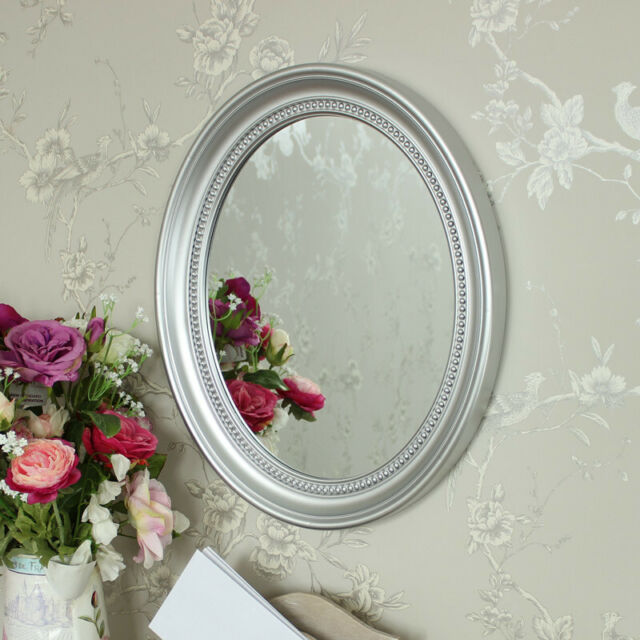 Silver Oval Wall Mounted Mirror, Oval Silver Beaded Mirror