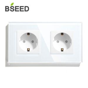 BSEED-EU-Steckdosen-1-2-3-Fach-Wandsteckdose-Kinderschutz-16A-Glas-Power-Outlets