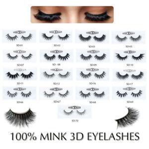 77362600f87 1 Pair 100% Mink Hair Natural Long Eye Lashes False 3D Eyelashes ...