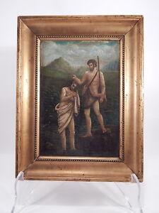 ANTICO-1800-DIPINTO-OLIO-BATTESIMO-GESU-GIORDANO-OIL-PAINTING-BAPTISM-JESUS