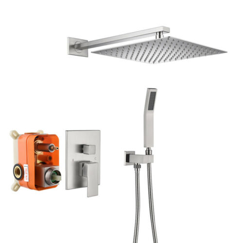 """Concealed Bath Faucet Nickel Bathroom 12/"""" Shower Faucet Sets Mixer Water Tap"""