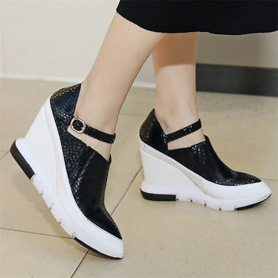 Womens Platform Wedge Heel Ankle Boots Shoes Sneakers Fashion creepers Sz 5-8