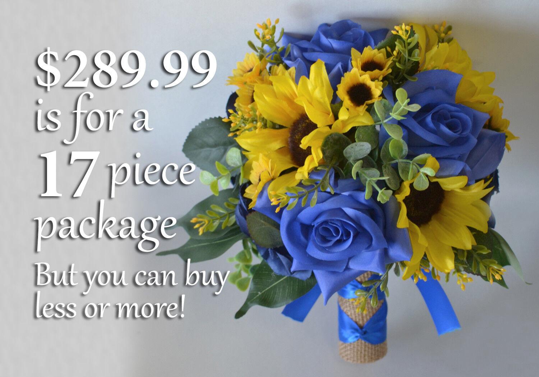 Mariage Bouquet Soie Fleur Mariage Demoiselle d'honneur jaune bleu royal Tournesol Toile de Jute