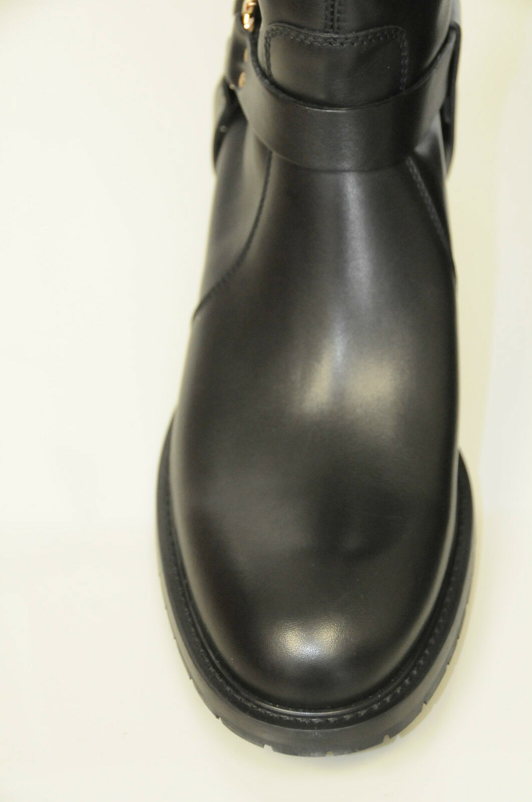 895 895 895 NEW Salvatore Ferragamo Black Leather riding motorcycle Flat BOOTS SHOES 10 918339