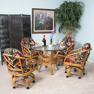 Made In Usa Rattan Dining Room Swivel, Dining Room Set Made In Usa