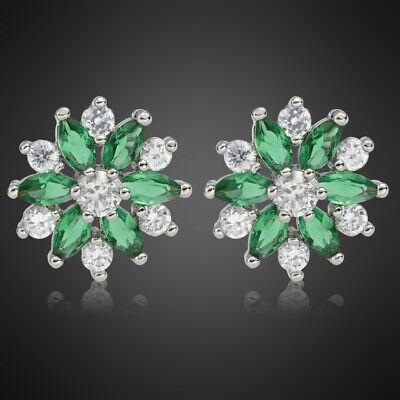 Neu Schmuck Geschenk 18K Weissgold Vergoldet Gruen Smaragd Marquise Ohrringe