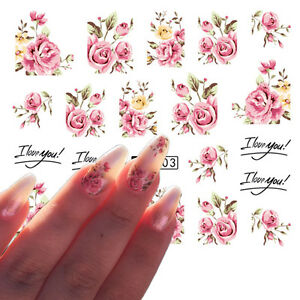 5 Sheets Nail Art Water Transfer Decals Stickers Pink Rose Design